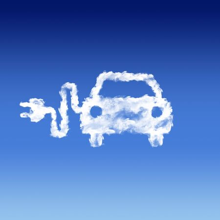 cloud shape electric car Icon Stock Photo