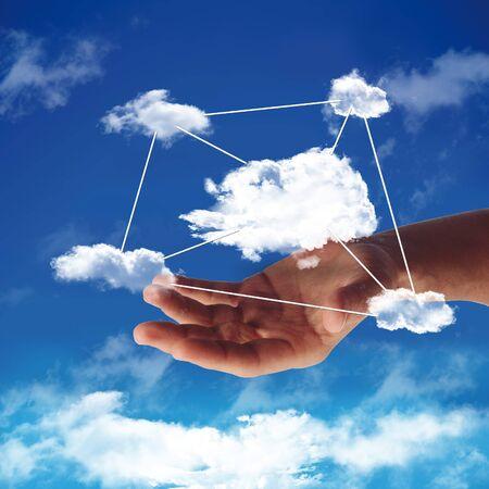 cloud computing with cloud in a blue sky Standard-Bild