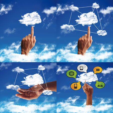 cloud computing with cloud in a blue sky Stock Photo