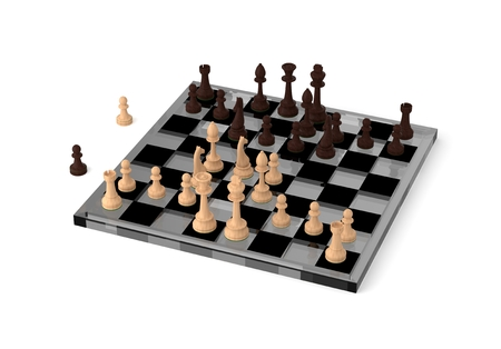 Two chess teams in front of other on the chessboard. Isolated over white background Stock Photo