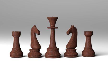 3d rendering basic chess set on white background