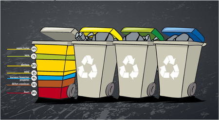 Recycle Cartoon Character Bin 3. Raster Collection Isolated Set Vettoriali