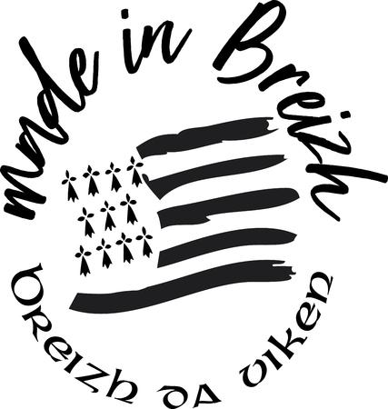 Logo vettoriale ed etichetta Made in Brittany (prodotto in Bretagna) Logo