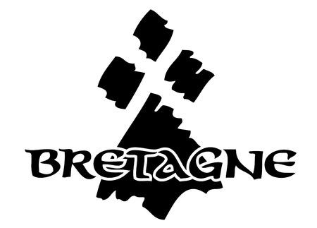 Logo vettoriale ed etichette Made in Brittany (prodotto in Bretagna)