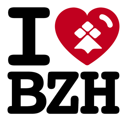 I love breizh, Made in Brittany (Product in Brittany) vector logo and labels