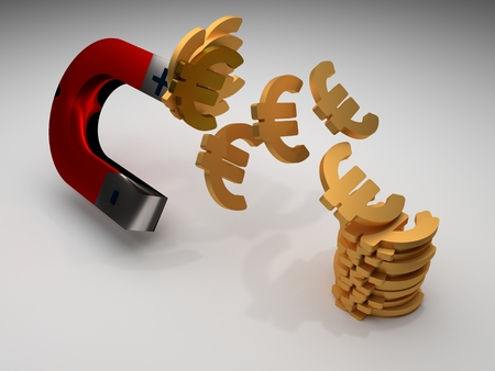 magnets with money, 3d illustration