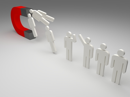 people attraction by a magnet, 3d illustration