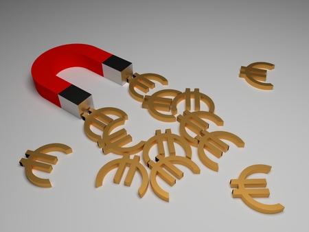 magnet and money, 3d illustration