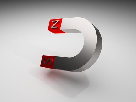 Glossy polished red magnet hanging in air stop motion 3d render illustration Standard-Bild