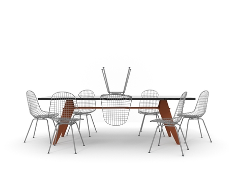 Row of chairs with one odd one out. Job opportunity. Business leadership. recruitment concept. 3D rendering Stockfoto