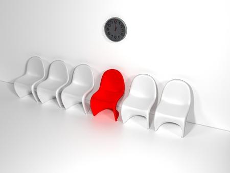 Fila de sillas con una extraña. Oportunidad de trabajo. Liderazgo empresarial. concepto de contratación. Representación 3D