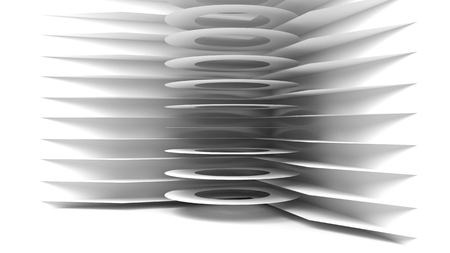 Abstract Architecture Background. 3d Illustration of White Circular Building. Modern Geometric Wallpaper. Futuristic Technology Design - Stock Illustration