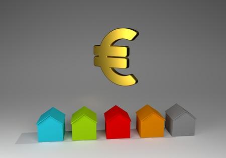 houses for real estate industry property, 3d illustration