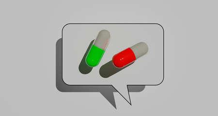 Pharmacy theme, antibiotic pills. 3d illustration Standard-Bild