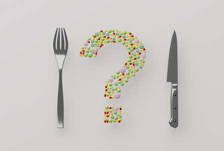 pills in a plate, 3d illustration Standard-Bild