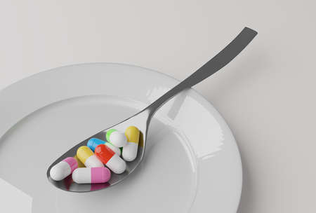 pills in a spoon, 3d illustration