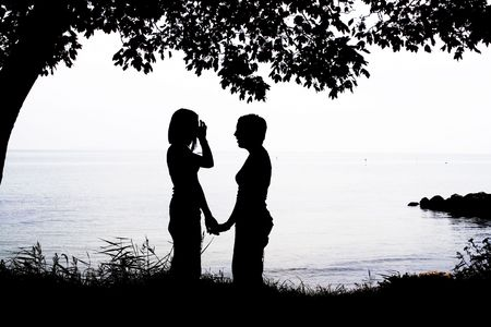 lesbian love: two girls in silhouette Stock Photo