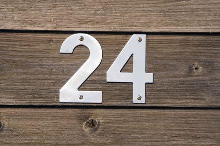 number 24 on a wooden fence Standard-Bild