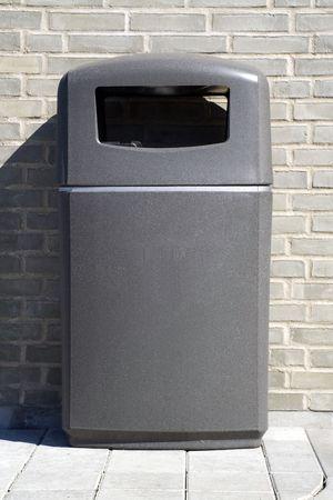 Grey plastic litter bin