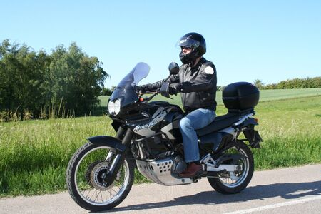 Biker in black leather