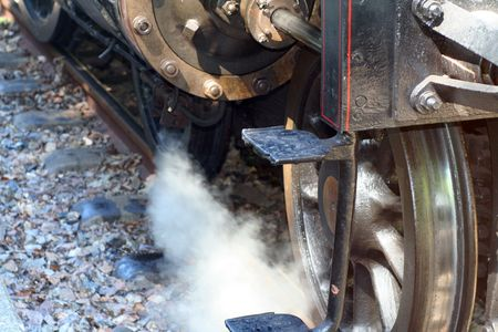 detail of an old steam train photo