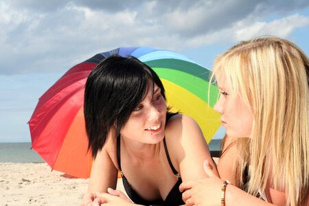 lesbianism: two girls on the beach