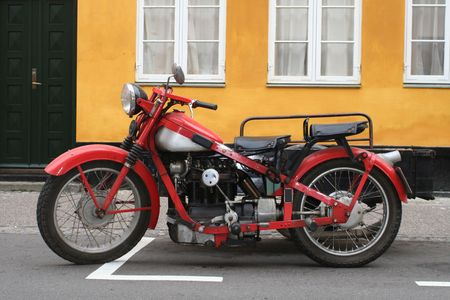 motorized bicycle: old vintage motorcycle Stock Photo