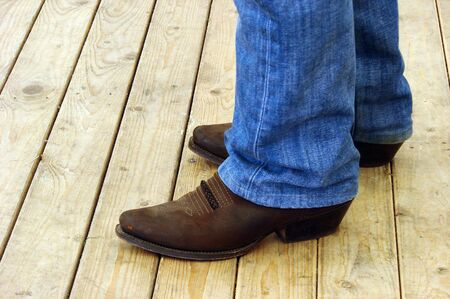 cowboy boots on a linedancer   Stock Photo