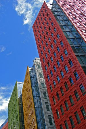 tall building:                                colorful office buildings