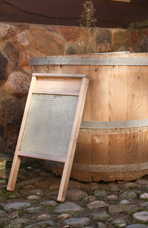wash board and a wooden tub