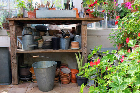 garden tool: little greenhouse with tools for gardening