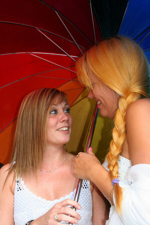 lesbianism: two young women flirting