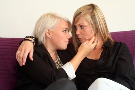 lesbian love: women flirting Stock Photo