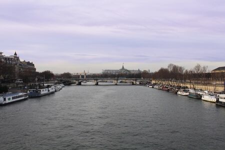 seine: River Seine Landscape Stock Photo