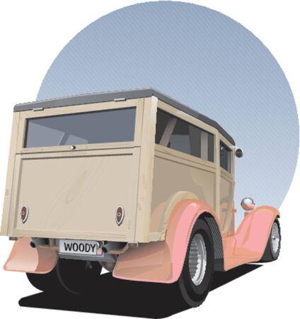 woody: Old vintage woody panel van Illustration