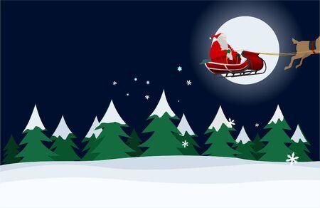 message vector: Santa Claus on a snowy night