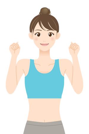 Colocar joven en ropa deportiva apretando los puños después de ser promovido Ilustración de vector
