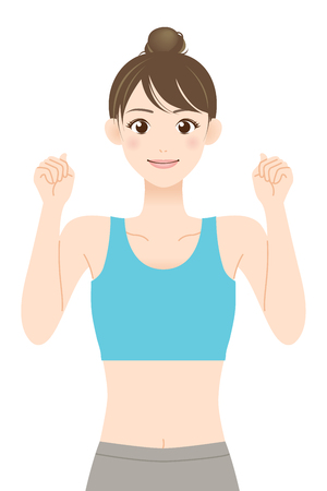 fit young woman in sportswear clenching fists after being promoted