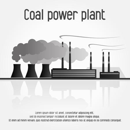 Coal power plant silhouette. Vector illustration on white backgound