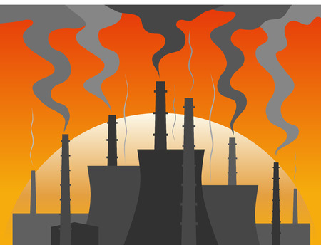 cooling tower: Power plant silhouette at dusk. Colorful vector illustration