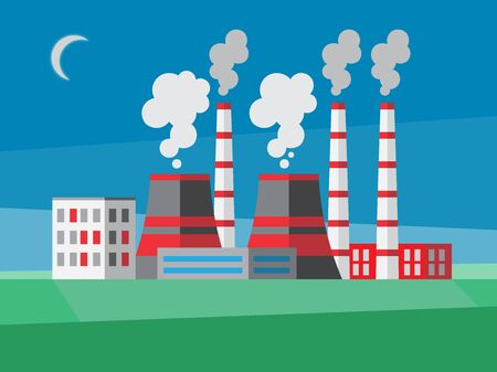 Industrial background with power plant. Flat style illustration.