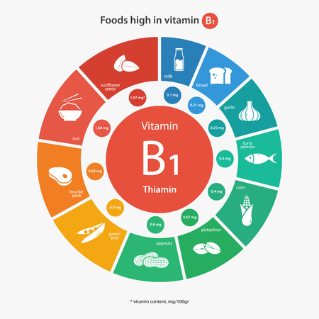 b1: Foods high in vitamin B1. Vitamin content of foods. Healthy lifestyle and diet illustration infographics with food icons. Illustration