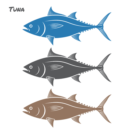 Tuna fish illustration on white background Çizim