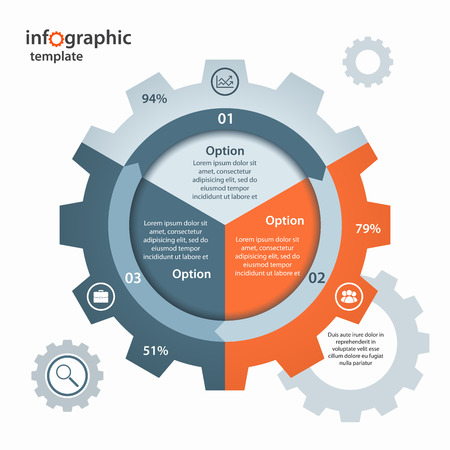 gear circle infographic template for business and industry. Business and industrial concept with 3 processes, options, parts, steps. Can be used for infographics, diagram, graph, presentation.