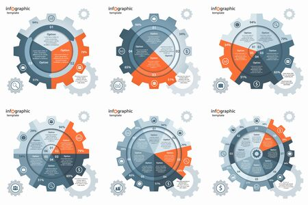 Vector gear wheel cogwheel circle infographic set.
