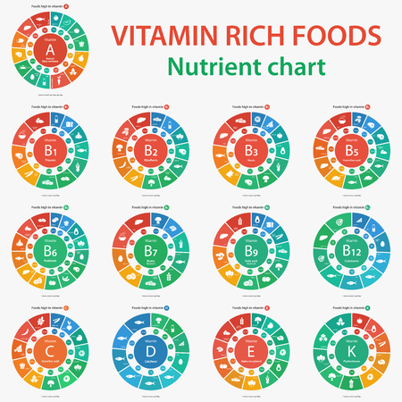 rich in vitamins: Vitamin rich foods. Nutrient chart. Foods high in vitamins. Illustration