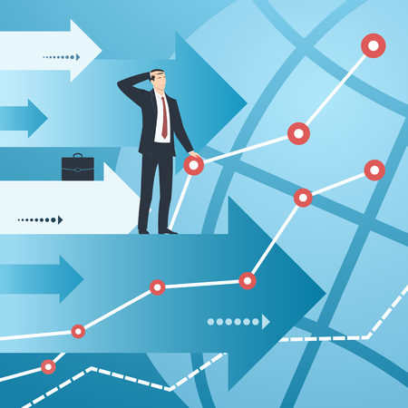leading the way: Businessman and graphs with growing financial indicators.