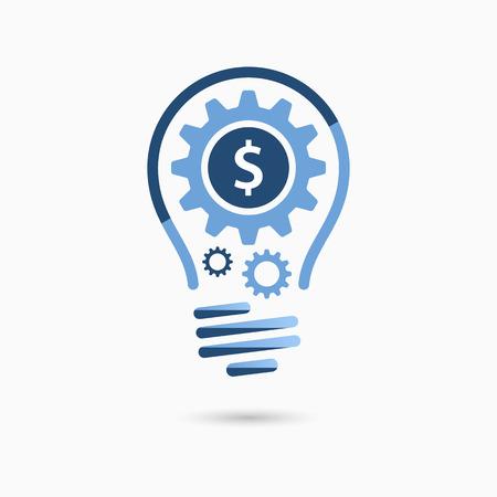 idea icon: Light bulb idea icon with gears inside. Light bulb sign, light bulb symbol. Business idea concept.