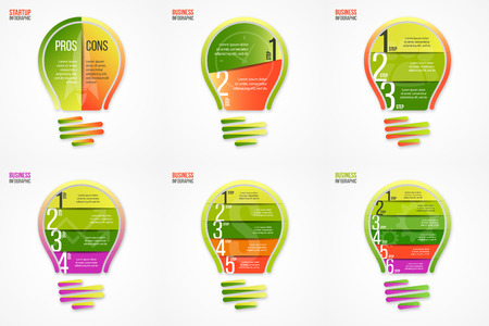 alfa: Light bulb vector infographic set of templates for graphs, charts, diagrams, other infographics