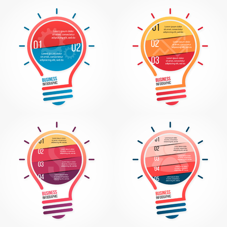 alfa: Light bulb vector infographic set of templates for graphs, charts, diagrams and other infographics Illustration